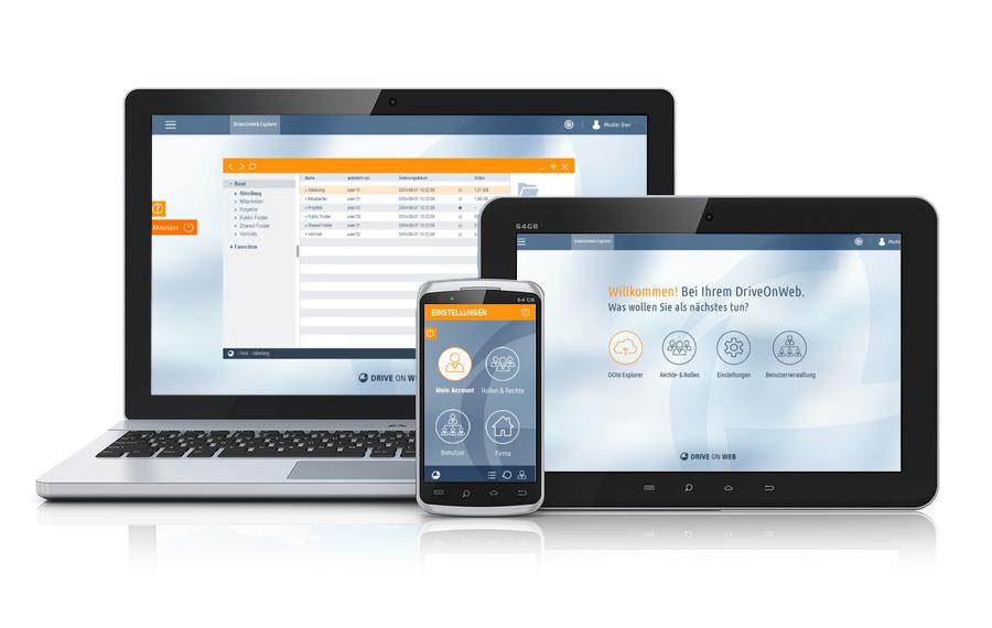 Die DriveOnWeb Cloud auf dem Laptop, Tablet und Smartphone