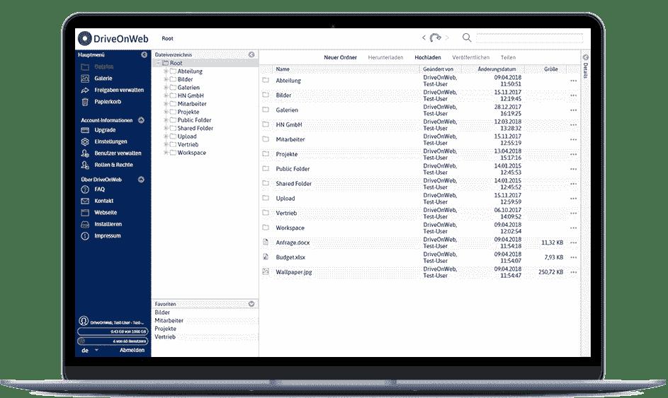DriveOnWeb - Intiuitive Weboberfläche des deutschen Cloudspeichers